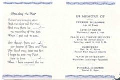 Program at Tucker's funeral